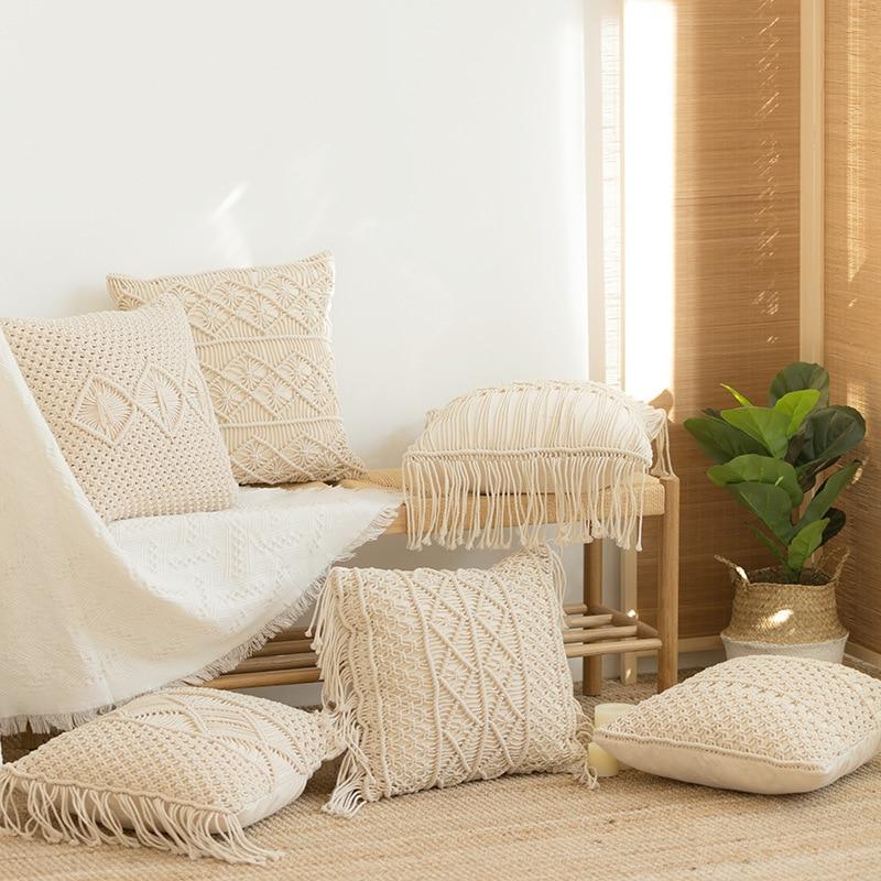 Cushion Covers 100% Cotton Linen Macrame Hand-woven Thread Pillow Covers Geometry Bohemia Style Pillowcase Home Decor 45*45cm