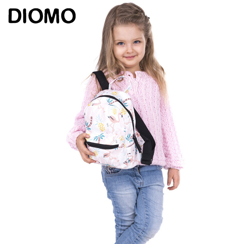 DIOMO Children's Schoolbag Child Mini Backpack Oxford Cloth Flamingo School Backpack For Girls Kids Backpack Toddler Book Bag
