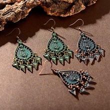 TopHanqi, антикварные индийские ювелирные изделия Jhumkas, бронзовые, зеленые, полые геометрические Висячие серьги для женщин, богемные этнические висячие серьги с кисточками