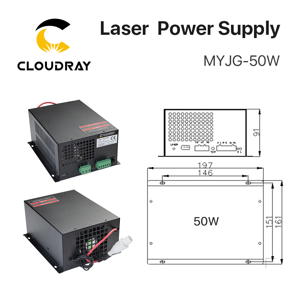 """""""Cloudray 50W CO2 lazerinis maitinimo šaltinis CO2 lazeriu - Medienos apdirbimo mašinų dalys - Nuotrauka 2"""