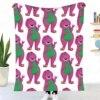 Barney The Dinosaur Throw Blanket Sherpa Blanket Bedding soft Blanket