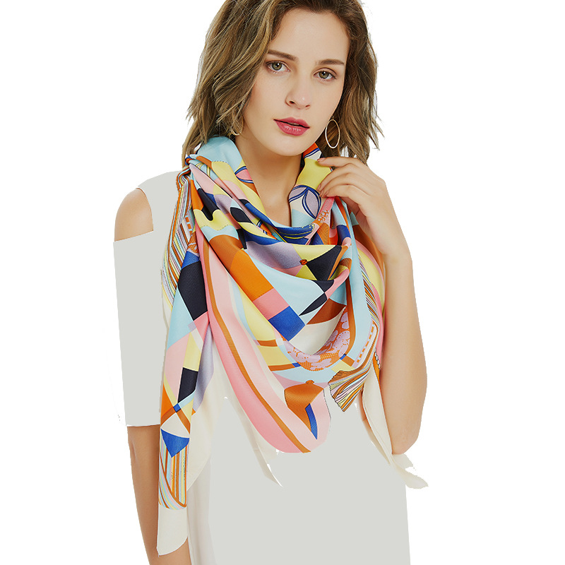 Women 39 s Accessories Scarves 100 SILK Triangle Geometric Twill Tri Color Scarf 51 39 39 X51 39 39 shawl and Wrap Wedding Holiday Gifts in Women 39 s Scarves from Apparel Accessories