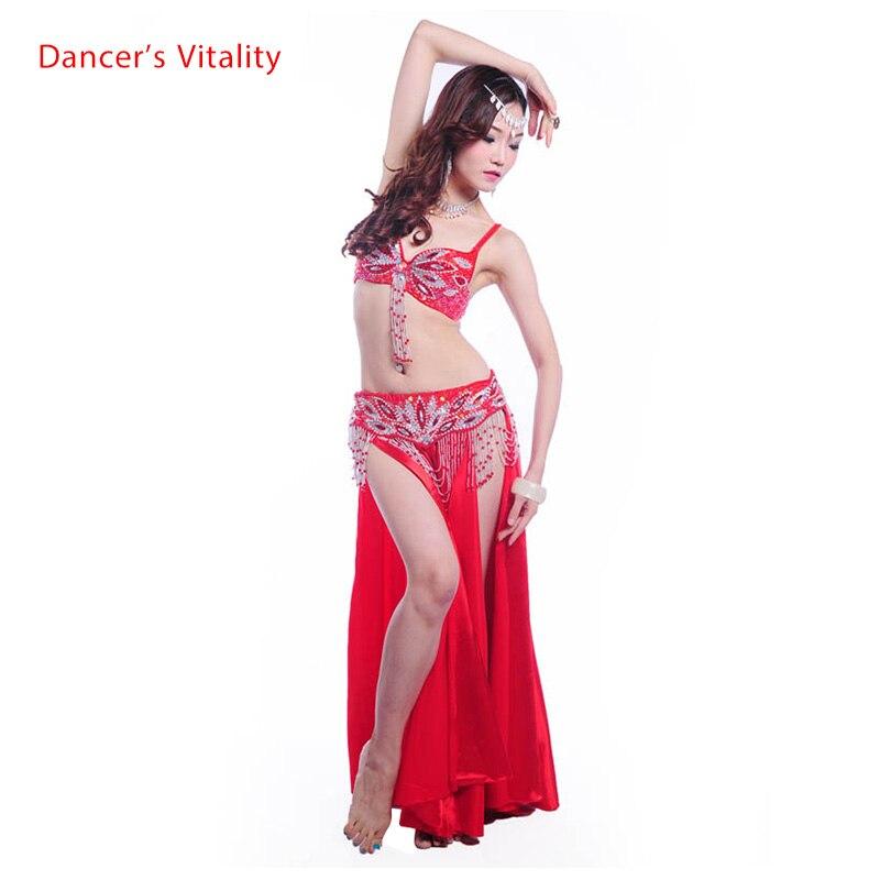 NEW! Hand Made Belly Dance Costumes Senior Colors Bead Bra Top+tassel Beads Belt 2pcs Belly Dance Suit For Women Belly Dance Set