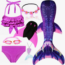 Kids Swimmable Mermaid Tail for Swimming Children Swimming Mermaid Tails With Monofin Fin Girls Kids Mermaid Cosplay Costume