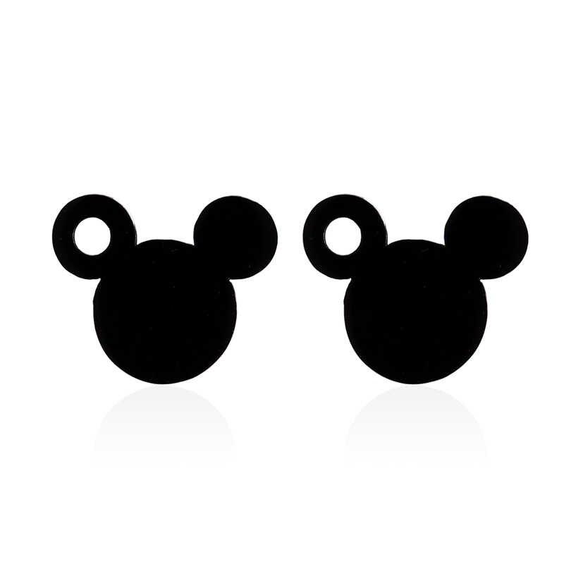 Yiusatr สัตว์ต่างหูสแตนเลสสีดำผู้หญิงสตั๊ดต่างหู Hollow Cat Mickey ผีเสื้อหูเครื่องประดับหวานต่างหูสำหรับผู้หญิง