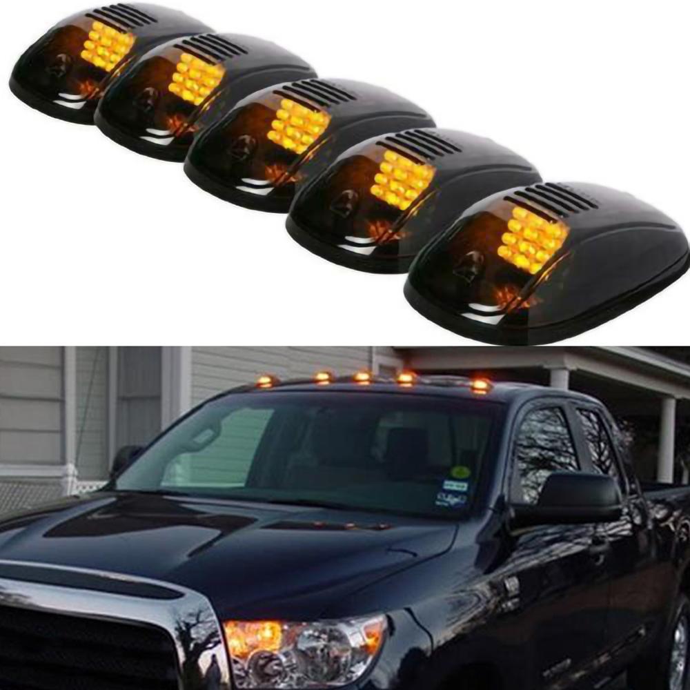 5pcs 12-LED Car Cab Roof Marker Lights For Truck SUV DC 12V Black Smoked Lens Clearance Marker LED Roof Lamps Doom Lights