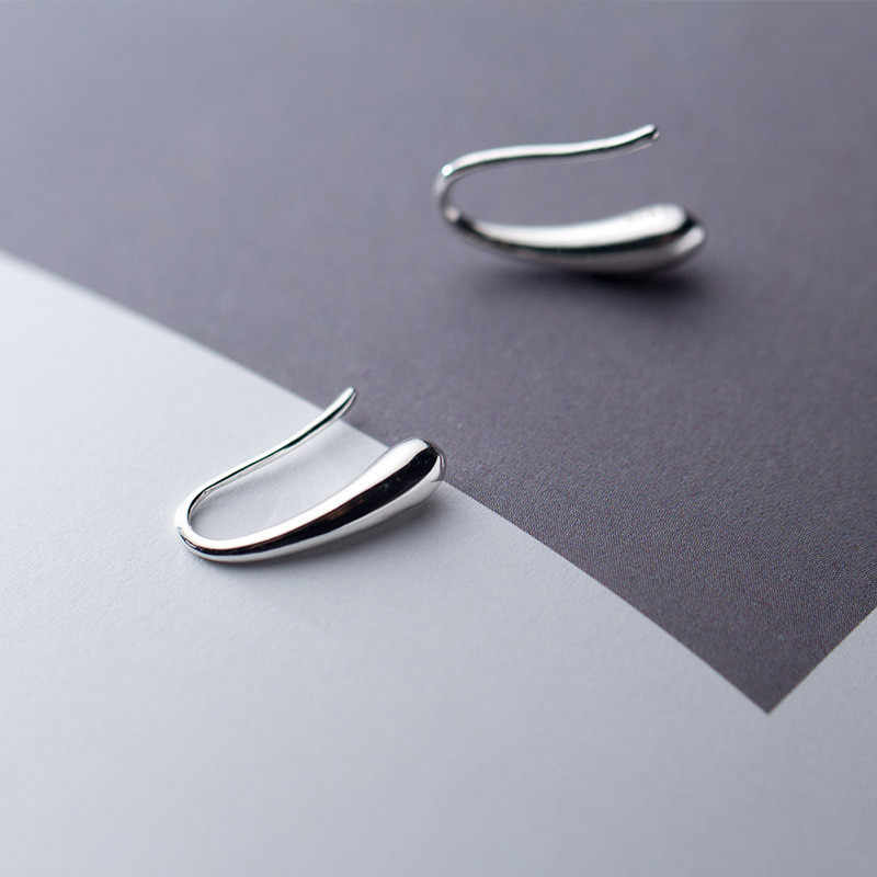 Prata 925 jóias brincos de prata esterlina para mulher personalidade simples elegante temperamento gota de água brincos delicados