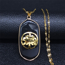AFAWA Tree of Life Black Color Natural Stone Stainless Steel Neckless omen Gold Color Necklace Jewelry cadenas mujer NB13S04 afawa tree of life natural stone stainless steel necklaces pendants for women gold color necklace jewelry cadenas mujer nb13s04