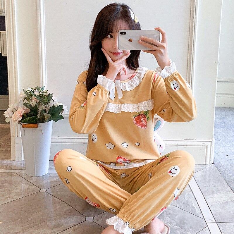 Autumn & Winter New Style Pajamas Women Long Sleeve Trousers Women's Korean-style Princess Homewear Set 814 # Strawberry Princes