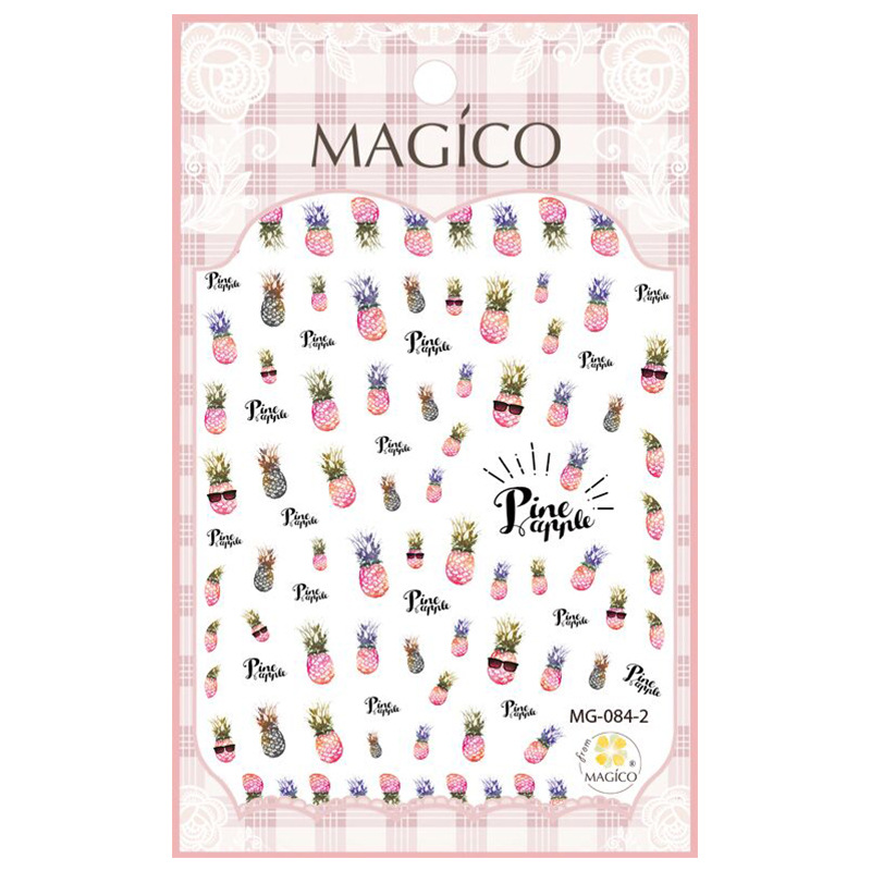 New Products Magico Ultra-Thin Gum Nail Sticker Nail Ornament Manicure Implement Pink Pineapple 84-2