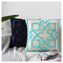 Хлопковая синяя Подушка Чехол в стиле бохо наволочка для подушки