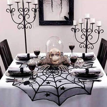 Halloween Spider Bat Patroon Tafelkleed Haard Doek Sjaal Lamp Cover Doek Cool Halloween Deur Gordijn Festival Producten(China)