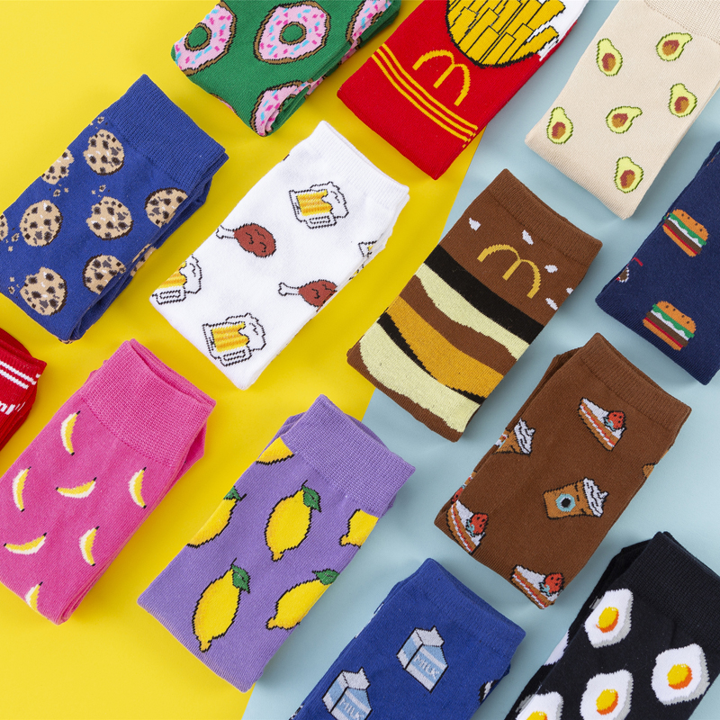 1 Pair Hot Sales Funny Socks Women Casual Cartoon Fruit Banana Avocado Lemon Egg Cookie Donuts Happy Harajuku Skateboard Socks