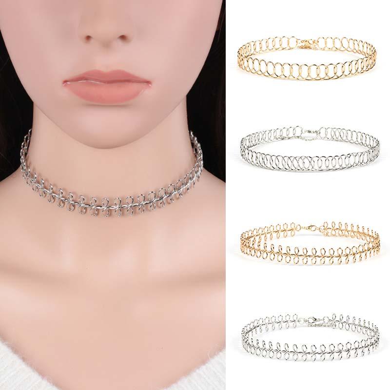 Fashion Fishbone Statement Necklace women Cutout Diamond Round Gold Silver Choker chain girl Unique Jewelry Accessories