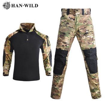 HAN WILD Hooded Tactical Suit Camo Uniform Military Shirt + Pants Army CS Shooting Training Combat Sport Hiking Shirts with Pads 5