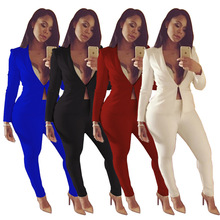 Sexy OL Work Suit Female Blazer And Pants Set Coat Fashion Chic Women Office 2 Pieces Outfits