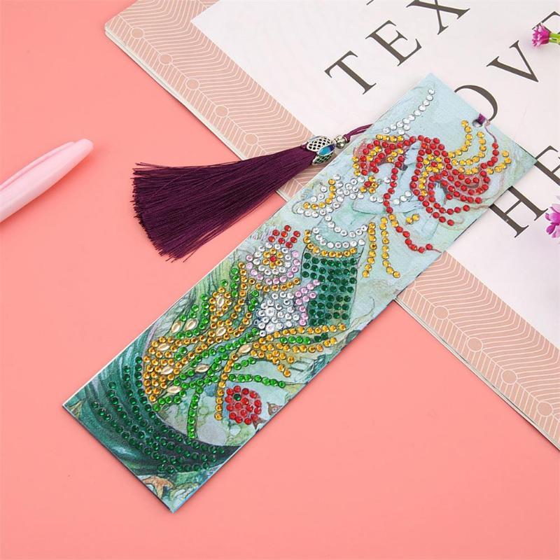 Diamond Painting Leather Bookmark Mermaid Mandala Pattern Special Shaped Diamond Vintage Tassel Book Marks DIY Craft Gifts