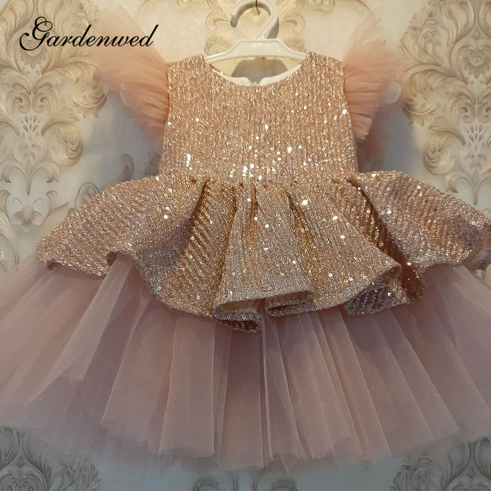 Glitter Sequin Flower Girl Dresses Blush Big Bow Tiered Tulle Girls Wedding Party Dress O-Neck Ruffle Sleeves Communion Dresses