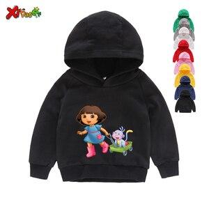 Image 5 - Sudaderas con capucha para niña, ropa de algodón para niño, sudaderas con capucha de dibujos animados blancos para niño pequeño, suéter para bebé de Primavera de 2 a 7 años 2020