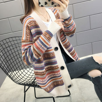 Net red cardigan womens sweater early spring  new knitted coat and autumn foreign style loose wear