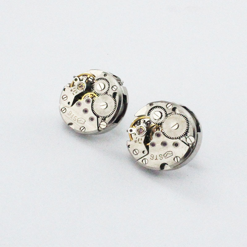 Textured Steam Gear Mechanical Movement Ear Stud Origional Europe And America Online Celebrity Watch Core Ornament Simple 20mm