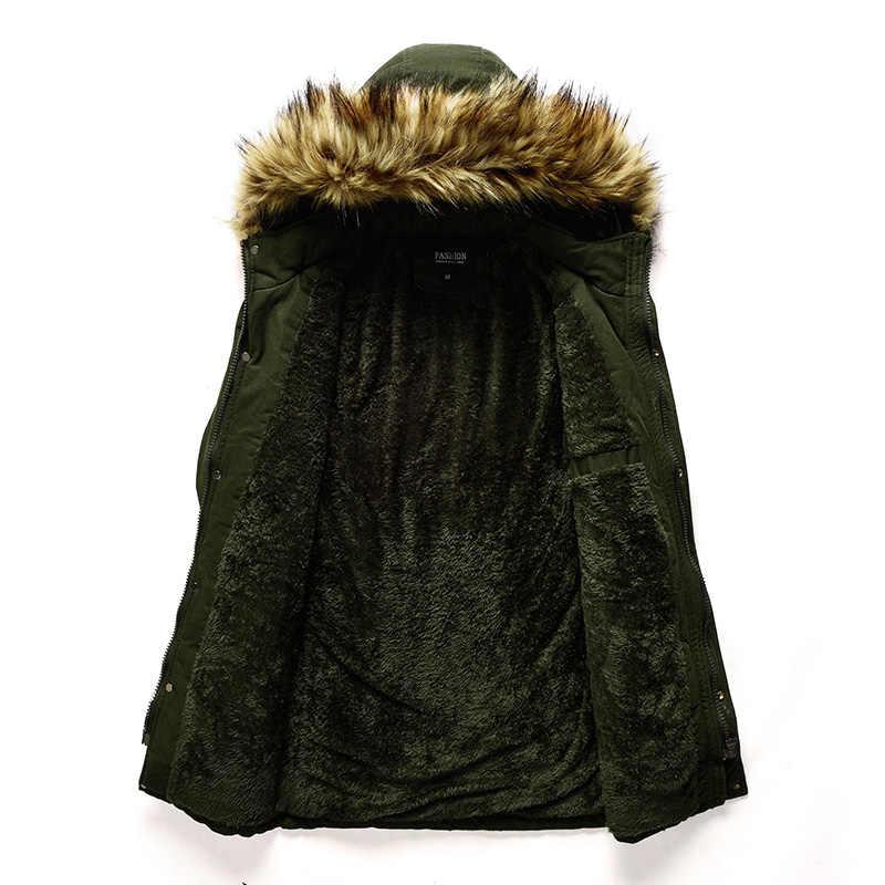 ฤดูหนาวชายเสื้อ Parkas ผ้าฝ้ายกำมะหยี่เบาะ Warm Parka Coat Casual Faux Fur Hooded ขนแกะชายเสื้อผู้ชาย Windbreaker