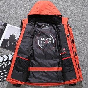 Image 4 - Мужская парка на пуху высокого качества, Толстая теплая зимняя куртка с капюшоном, плотное пальто на утином пуху, повседневное облегающее пальто со множеством карманов для мужчин