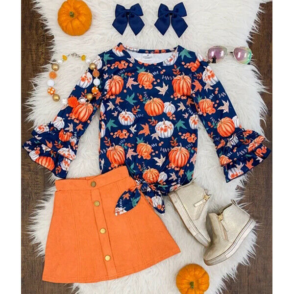 UK Toddler Baby Girl Christmas Long Sleeve Tops Skirt Strap Dress Outfit Clothes