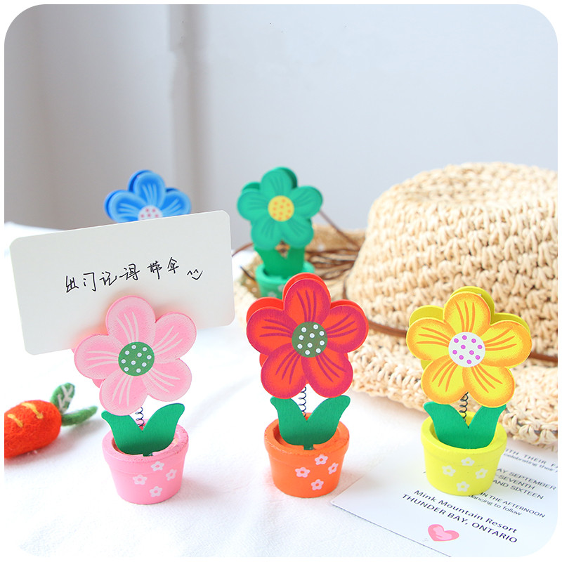 Cute Flower Wooden Photo Note Holder With Clip Name Card Message Memo Stand Desk Decoration Office Stationery Organizer