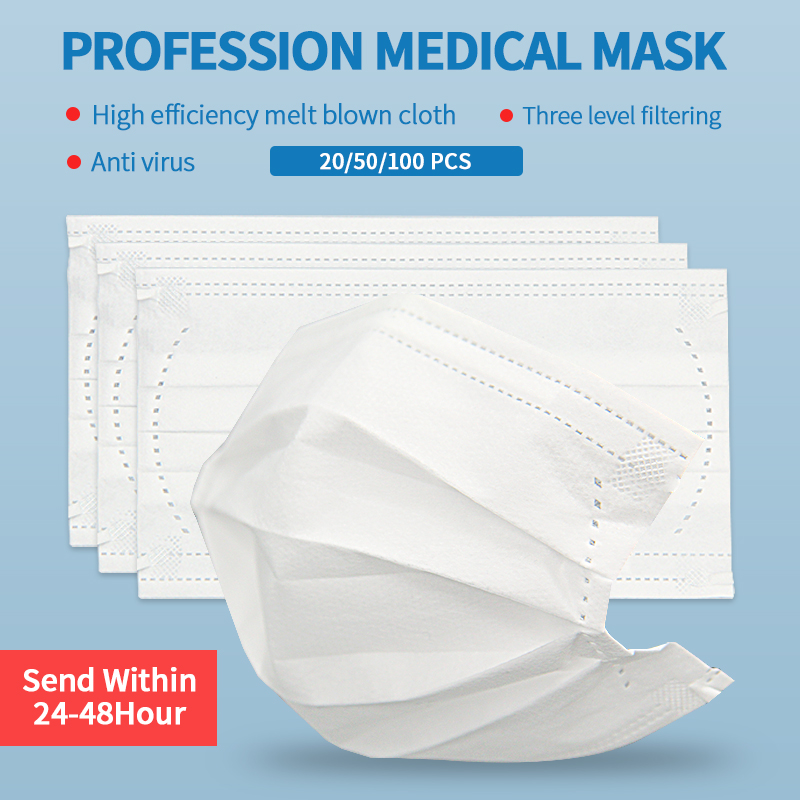 50PCS Face Masks Disposable Mask White 3 Layer Non-woven Dust Mask Thickened Mouth Masks Dust-Proof Face Shield Masken