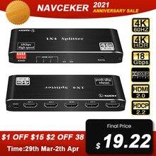 Navceker 4K 1x4 HDMI 2.0 Splitter HDR HDMI Splitter 1x2 4K HDMI Splitter HDCP 2.2 1080P HDMI Splitter Switcher for PS4 Apple TV