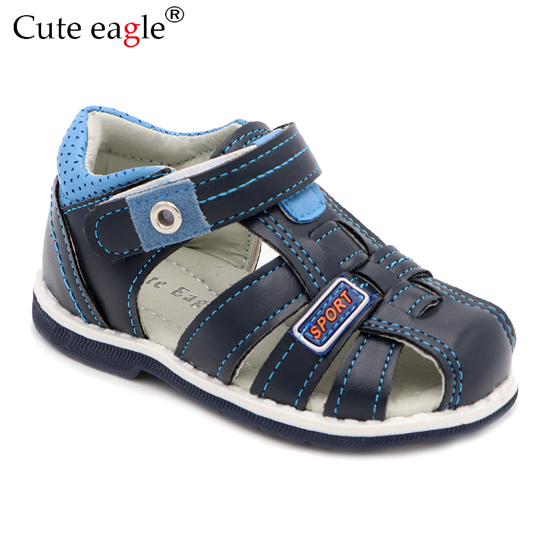 Cute Eagle Summer Boys Orthopedic Sandals Pu Leather Toddler Kids Shoes For Boys Closed Toe Baby Flat  Shoes  Size 20-30 New