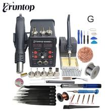 جديد Eruntop 8586D + شاشة ديجيتال مزدوجة لحام كهربائي مكاوي + مسدس هواء ساخن مصلحة الارصاد الجوية محطة إعادة العمل ترقية من 8586