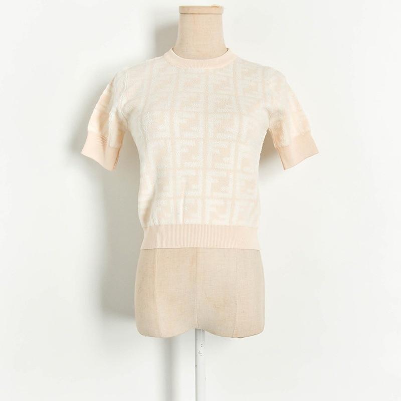 Summer New Special Yarn Contrast Letter Short Sweater Short Sleeve Women's