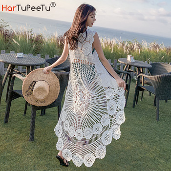 Crochet Beach Dress Lace Women Summer 2020 Seaside Bikini Cover Up Oversize Sexy Sleeveless Hollow Out Front Short Back Long sexy hollow out crochet lace mini dress