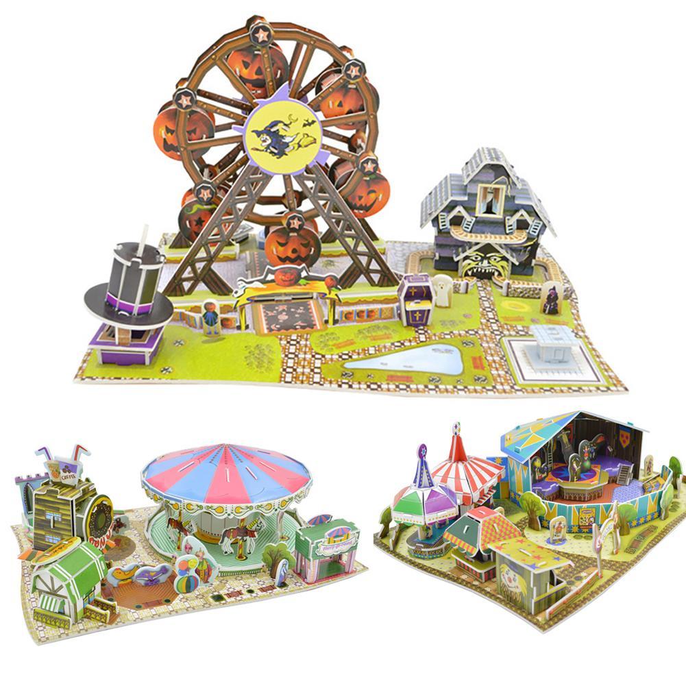 DIY Building 3D Circus Carousel Ferris Wheel Model Puzzle Education Kids Toy New