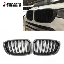 цена на Quality Fitment Carbon Fiber Front Kidney Grills Double line Gloss Black  for BMW X3 X4 F25 F26 2014-2018