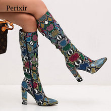 2019 Autumn New Hot Women Boots Sexy Fashion Snakeskin Heels Toe Zip Thick Pointed Shoes Woman Serpentine Thigh High