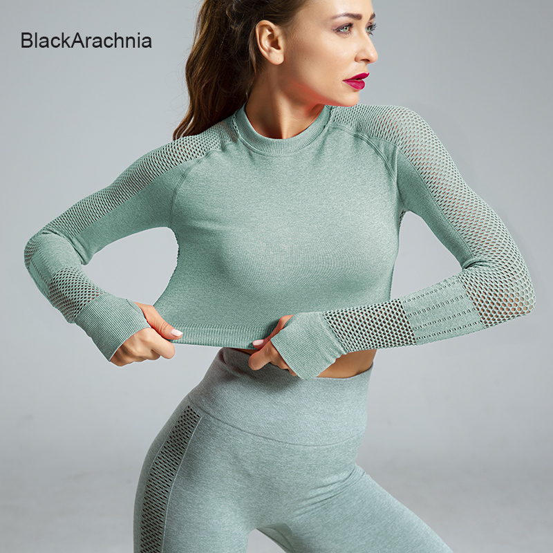 Top Leggings Sportswear Gym-Set Mesh Knitted Long-Sleeve Seamless Yoga Sexy High-Waist title=