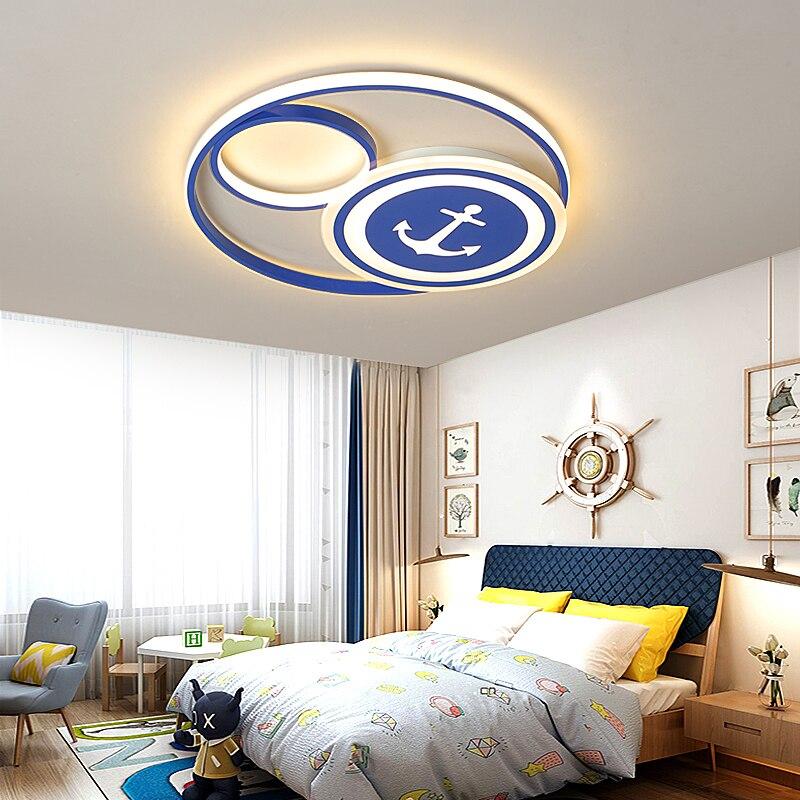 Créatif moderne led lustre pour enfants chambre enfants chambre lit chambre lumière bleu couleur moderne lustres plafond décoration de la maison-in Lustres from Lampes et éclairages on Bless Lighting Store
