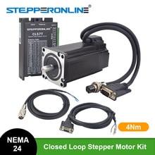 Nema 24 4Nm Geschlossen Schleife Stepper Motor Kits 2 Phase Nema24 Servo Motor 5A + Servo Fahrer & 2 stücke verlängerung Kabel