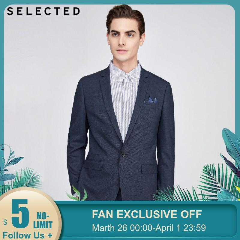 SELECTED Men's Slim Business Casual Blazer Regular Fit Jacket SIG|42015X504【Fan Get New Arrivals Coupons In The Description】