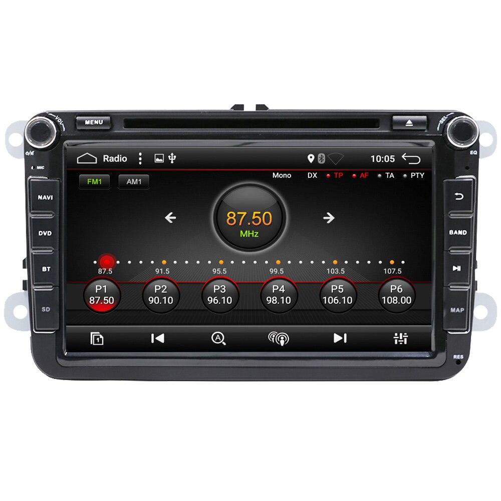 Eunavi 8 ''2 din Android 9 samochodowy odtwarzacz dvd radio dla VW Volkswagen Polo Jetta passat b6 b7 cc fabia Touran golf 6 Tiguan rns510 GPS IPS