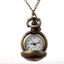 Vintage Glass Alice In Wonderland Drink Me Bottle Dark Brown flip Quartz Pocket Watch for Women Lady Girl Gift Steampunk