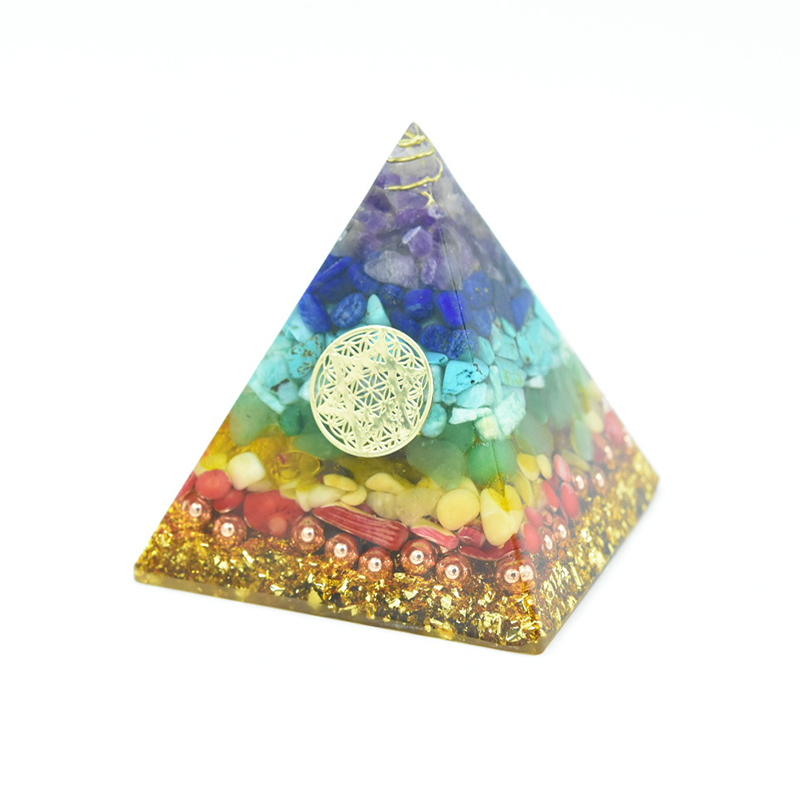 Original Orgonite Seven Chakras Crystal Healing Pyramid EMF Protection Natural Crystal Crafts Decoration Amethyst Handicraft