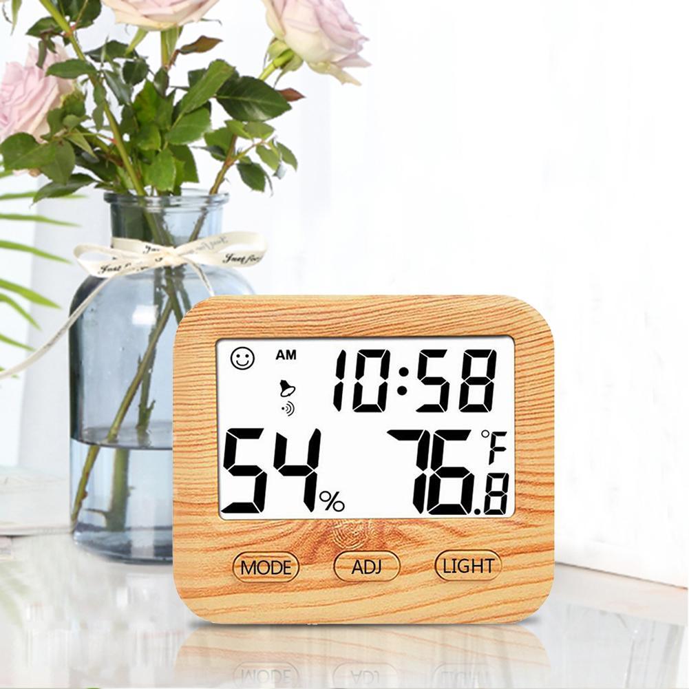 Termometre Elektronik Dijital Sıcaklık Nem Ölçer Kapalı Yüksek Hassasiyetli Arka Işık Ahşap Tahıl Termometre Higrometre # SW title=