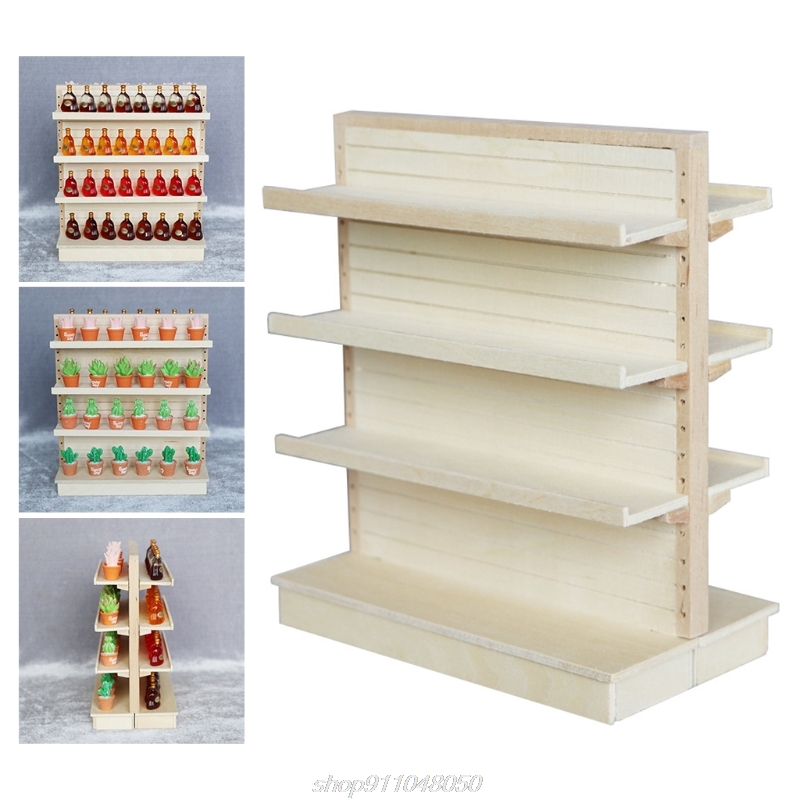 Wooden 1:12 Scale Dollhouse Miniature Supermarket Shelves for Food Drink Display Furniture Toys MY31 21 Dropshipping