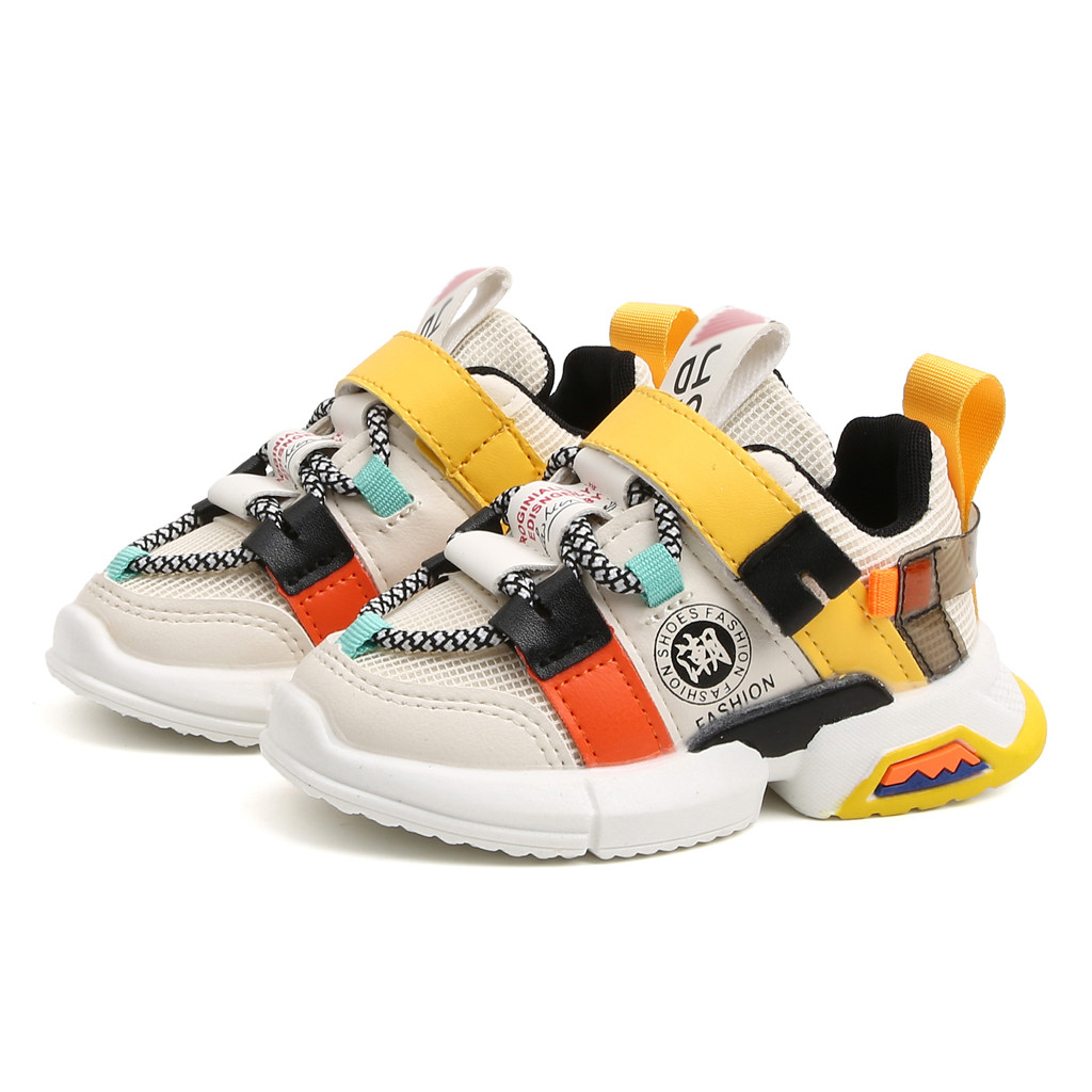 Toddler Baby Girls Boys Patchwork Color Soft Sole Mesh Sneakers Kids Boy Girl Cross-tied Casual Running Shorts Sport Shoes