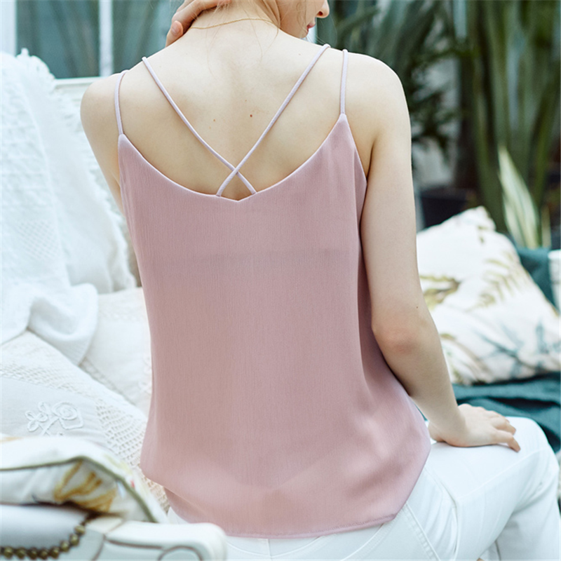 Chiffon Top Women Summer Tank Top Women Sexy Crop Tops Plus Size Korean Woman Solid Halter Tops Sleeveless Stain Tees Vest Woman in Camis from Women 39 s Clothing