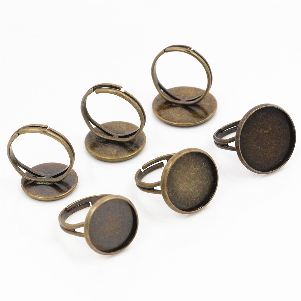 14mm 16mm 18mm 10pcs Antique Bronze Brass Adjustable Ring Settings Blank/Base,Fit 18mm Glass Cabochons,Buttons Ring Bezels